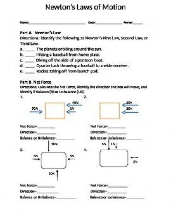 Three Part Force Worksheet Activity Part A Students Will Identify