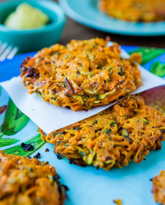 Baked Chipotle Sweet Potato and Zucchini Fritters