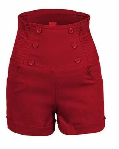 Pantalones Cortos talle alto Ofertas especiales y promociones  Caracteristicas Del Producto: - alarde de su lado coqueto con estos vintage inspirado alt