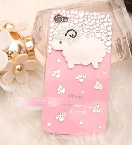 3d Sheep Bling Crystal Case, Cover for Apple Iphone 4 and 4s (Pink) $18.99