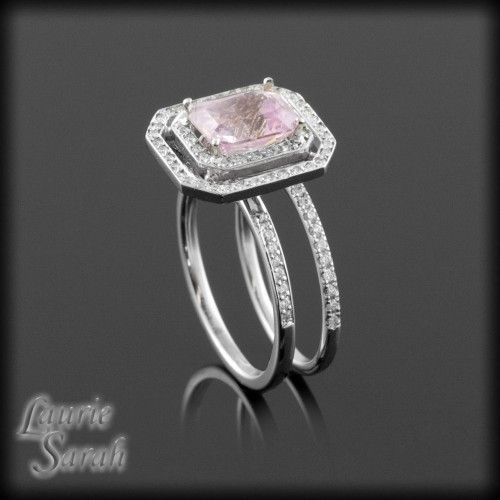 Rectangle Cushion Cut Pink Sapphire Wedding Set with Diamond Double Halo and Wedding Band - LS2578