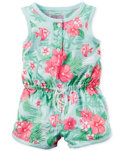 Carter's Baby Girls' Mint Floral-Print Romper FROM MACY'S