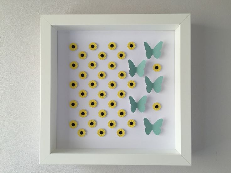 Image of Sunflowers/Butterflies - Small - Classic Sunflowers and Teal Butterflies