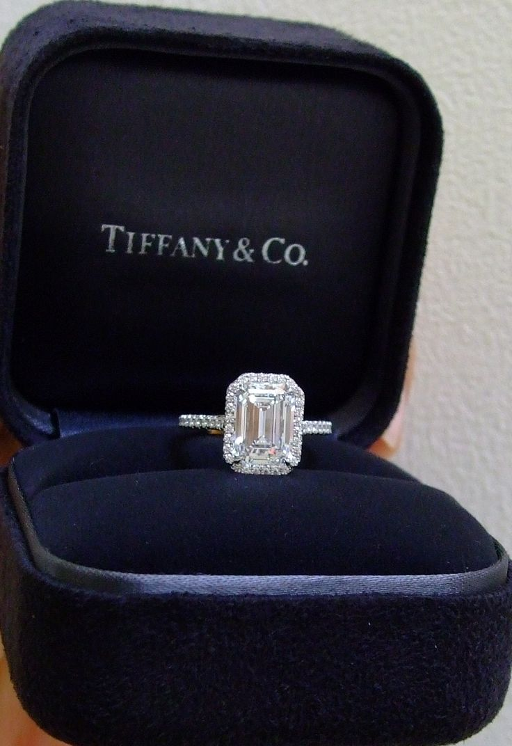 Tiffany Soleste with an emerald cut diamond 2.5 CT