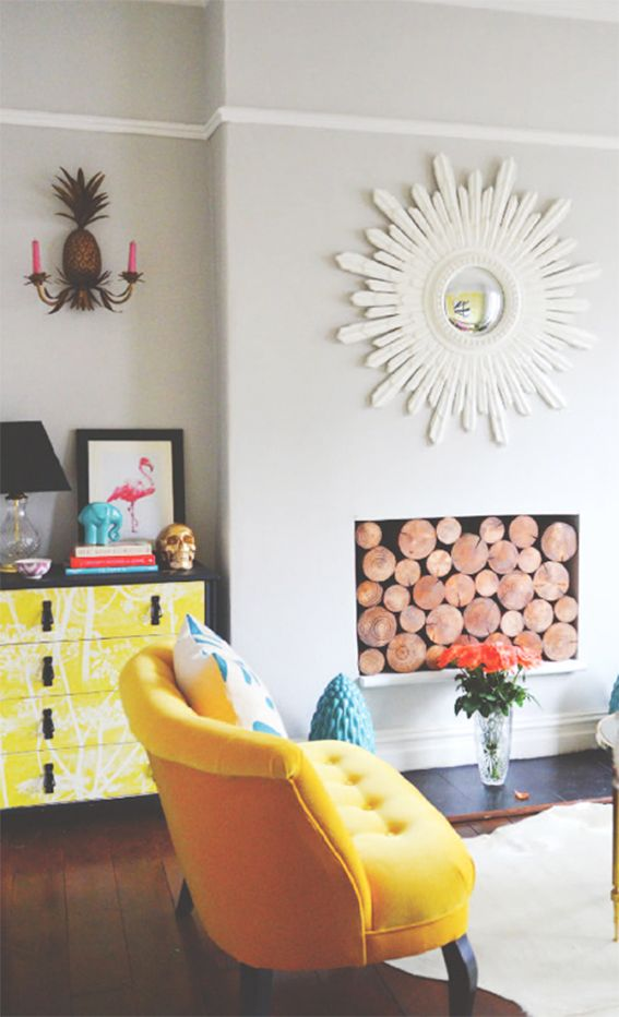 Yellow chair and faux fireplace: Decor, Ideas, Interior, Living Rooms, Sunburst Mirror, Fireplace, Space, Design