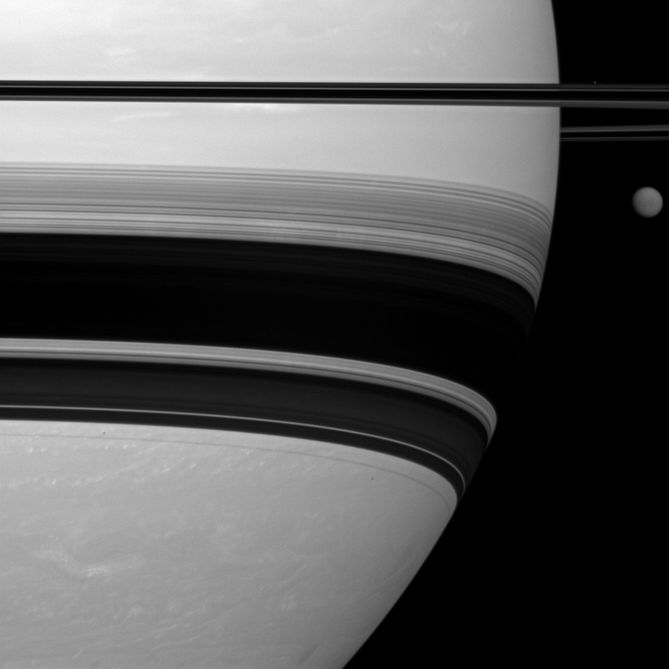Saturn, Titan and Prometheus viewed from Cassini