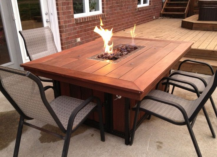 Exterior. Endearing Rectangular Wooden Outside Propane Fire Pits Table Design With Cool Arm Chairs Ideas. Great Awesome Selection Of Outside Propane Fire Pits Design Ideas
