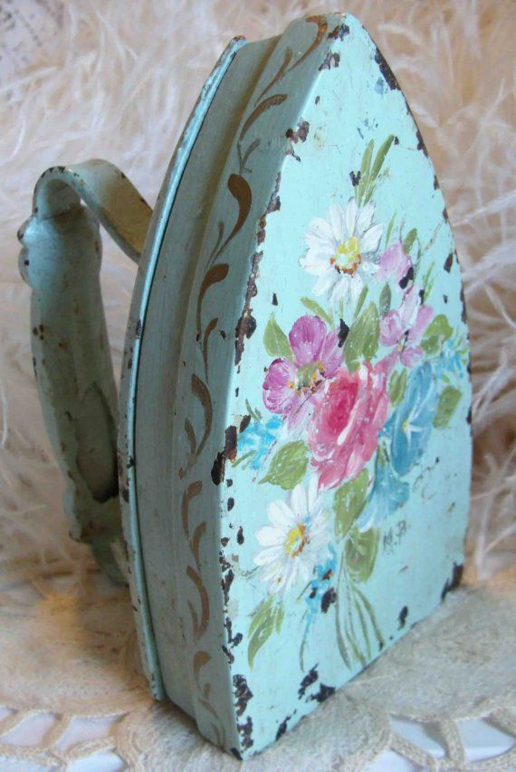 Circa 1920s Beautiful Chippy Shabby Cottage Hand Painted Iron Adorned With Pink Flowers.