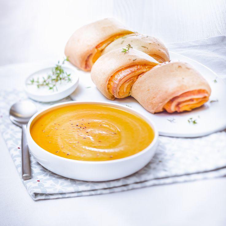 Petites soupes carottes et gingembre + pain au cheddar et thym- Cuisine Companion de Moulinex votre compagnon culinaire au quotidien