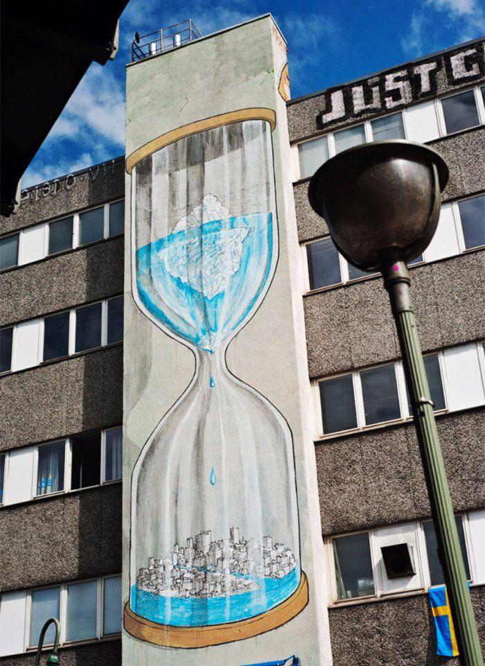 Réagissons pour notre Terre, le temps nous est compté ! / Street art. / By Blu .
