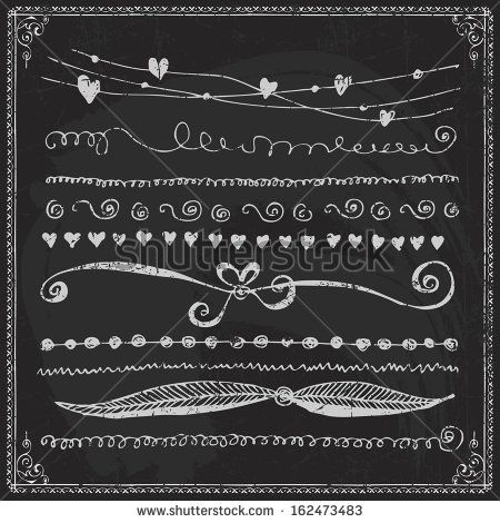 Free Chalkboard Borders | ... line border set and design element on a chalkboard - stock vector