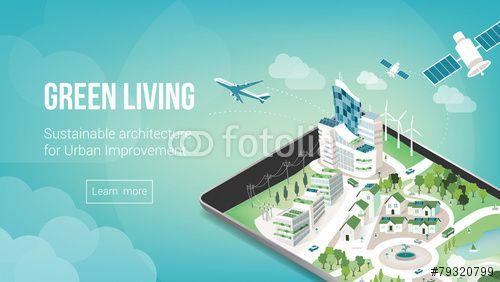 Vector: Green city banner