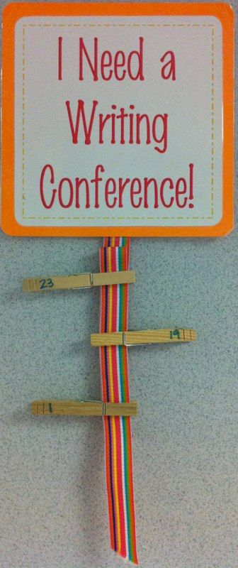 "Writing Conference requests because I can't stand the chaos of ""I'm doooone!!! I need heeeeelp!!Teach kids to raise hand for help and put their clothespin up when done"
