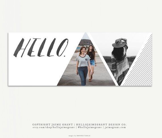 Modern Triangles - Facebook Timeline Cover Template for Bloggers Boutiques Small Business Personal Pages - Digital Download