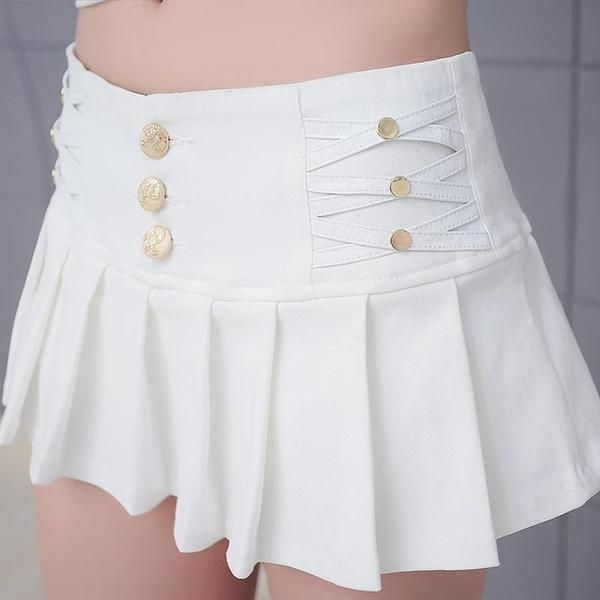 Item Type: ShortsGender: WomenStyle: FashionMaterial: Acetate,Cotton,MicrofiberPattern Type: SolidPant Style: Shorts SkirtsDecoration: Criss-Cross,ButtonClosure