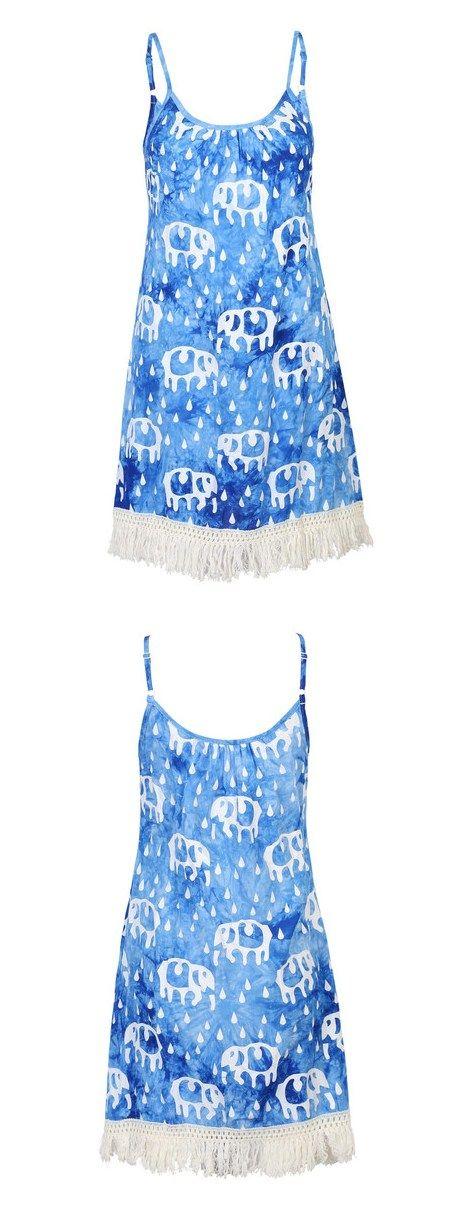 Blue Tie Dye Elephant Print Tassels Dress AT MYNYSTYLE.COM