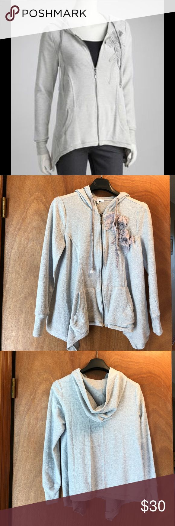 Gorgeous Asymmetrical Hem Hoodie This gorgeous light gray jacket is gently used. Flowers on the front need pressing but overall this is in excellent condition. Listing as a junior small as it fits more like a women's XS/ juniors S Mystree Jackets & Coats