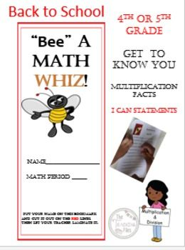 """Math fun just in time for Back to School for Grades 4-6. This is a versatile 31 page mathematics packet with a """"Bee"""" theme that will provide perfect first day and into the first week of school activities for your student in grades 4-5. Included are a template for"""