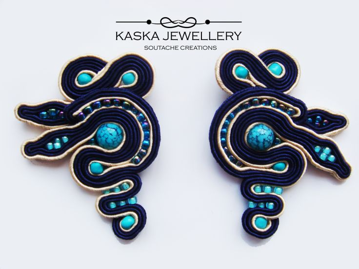 LAZUR soutache earrings by kaska jewellery https://www.facebook.com/kaskajewellery