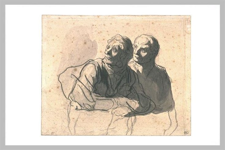 Two men looking at mid body to the left - Honore Daumier
