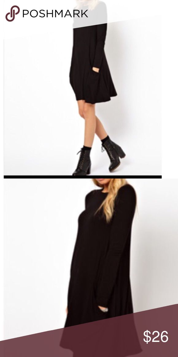 Black swing dress with side pockets Rayon knit jersey spandex black long sleeves swing dress with side pockets PLEASE Use the Poshmark new option you can purchase and it will give you the option to pick the size you want ( all sizes are available) BUNDLE and save 10% ( no trades price is firm unless bundled) Dresses