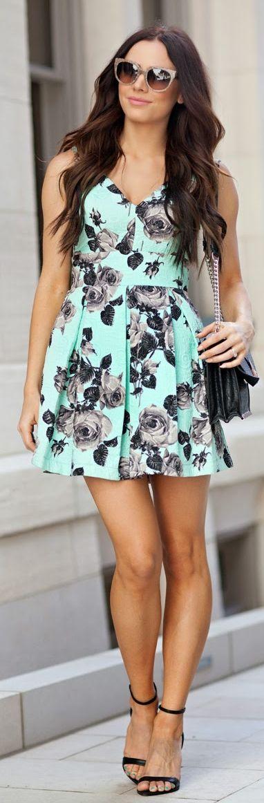 Topshop Mint Floral A Line Skirt Back Bowed Party Dress