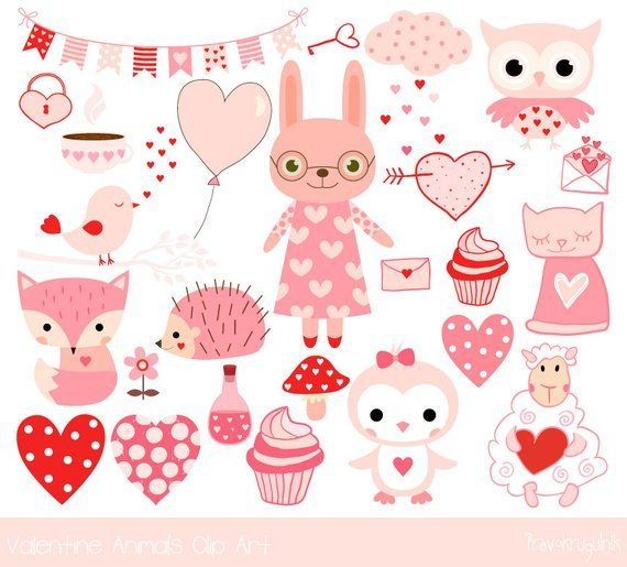 Cute Valentine Animal Clipart Pink Kawaii Animal Clip Art Etsy Valentines Illustration Valentines Clip Animal Valentine