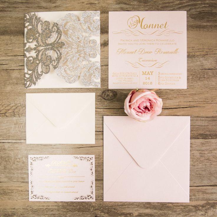 laser cut wedding invites canada%0A Lelia  Elegant Floral Lace Glitter Paper Laser Cut Pocket  Laser Cut  InvitationFloral