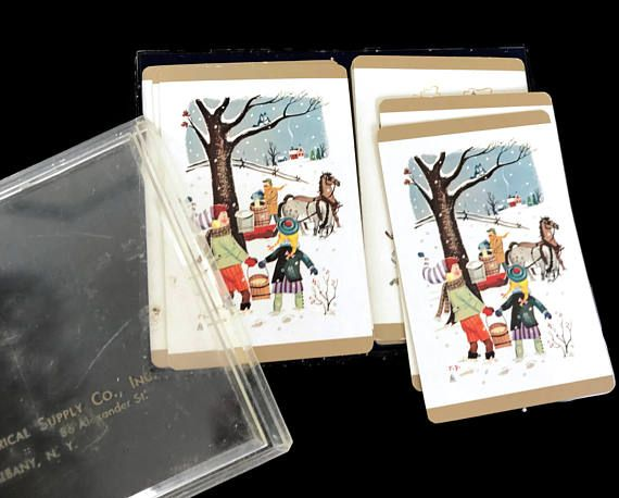 Vintage 1950s Playing Cards Two Boxed Card Decks Bridge Cards