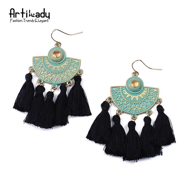 Artilady падение кисточкой серьги мода зеленый позолоченный boho ювелирные изделия серьги для женщин партии подарок купить на AliExpress
