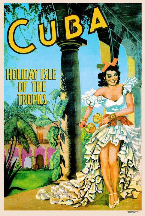 #JennyferTropicalParadise  affiche tourisme cuba vintage années 50
