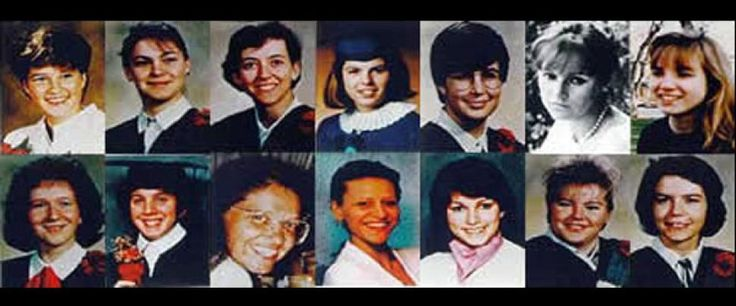 Remember December 6. In 1989, crazed gunman Marc Lepine burst into a classroom at Ecole Polytechnique in Montreal. He ordered the male students to leave and began his deadly rampage inside the classroom and then in the university corridors. Above are those he senselessly slaughtered. Top row (from l.) Anne-Marie Edward, Anne-Marie Lemay, Annie St-Arneault, Annie Turcotte, Barbara Daigneault, Barbara Klucznik-Widajewicz, Geneviève Bergeron. Bottom row (from l.) Hélène Colgan, Maryse Leclair…