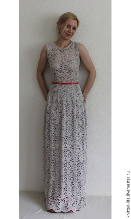 Платья ручной работы. Ярмарка Мастеров - ручная работа. Купить Платье вязаное макси светло-серое. Handmade. Серый