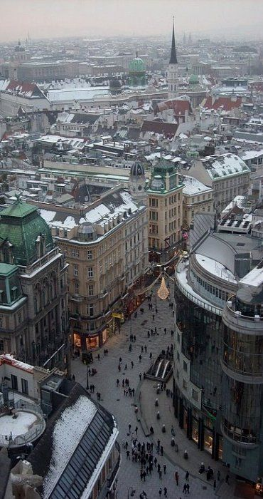 Looking down to Karnter Strasse from the top of St Steven's Cathedral, Vienna, Austria: