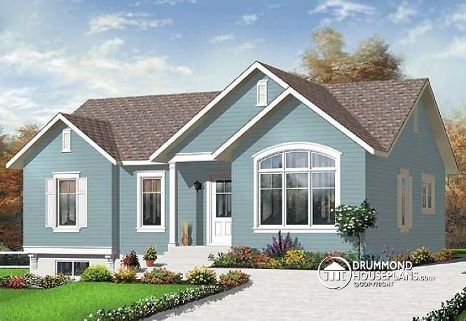 W3130 ranch bungalow house plan with 3 bedrooms for Cathedral ceiling home plans