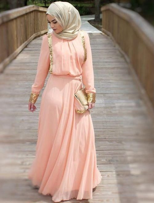 Pinterest: @eighthhorcruxx. Formal wear. Peach and gold dress with gold clutch and hijab
