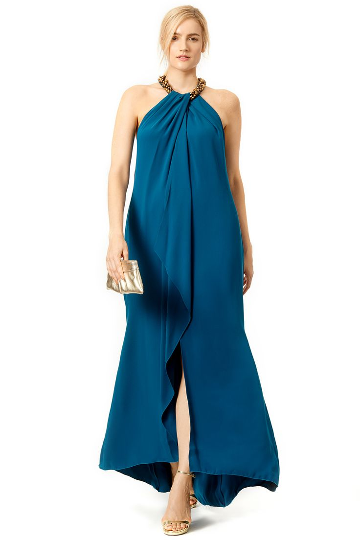 Teal Necklace Gown by Carmen Marc Valvo #renttherunway