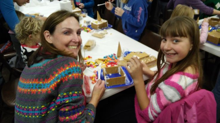 Creating Gingerbread Houses at the Library