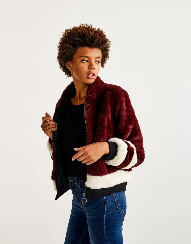 Faux fur bomber jacket - Coats and jackets - Clothing - Woman - PULL&BEAR Egypt