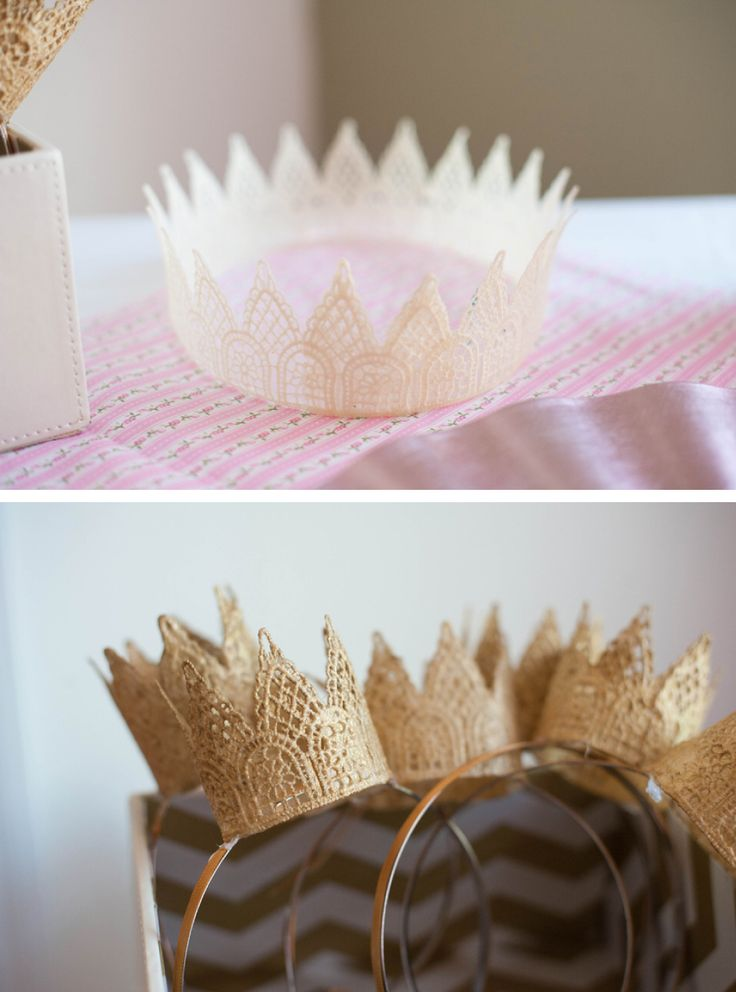 spray painted crown and mini crowns mounted on headbands for a princess themed party - make a big crown for the birthday celebrant and smaller crowns for the guests