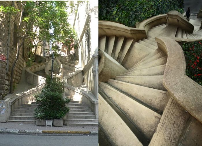 Kamondo stairs in Istanbul Galata, is an example of art nouveau style. They are dedicated to Abraham Salomon Kamondo a member of a famous banker family,  Kamondo family.