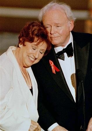 Actress Jean Stapleton rests her head on the shoulder of actor Carroll OConnor at the 48th Annual Emmy Awards in Pasadena. Missing you both.