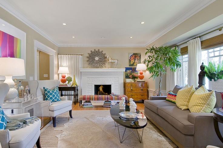 Living room magenta citron tamara mack design - Interior design san francisco bay area ...