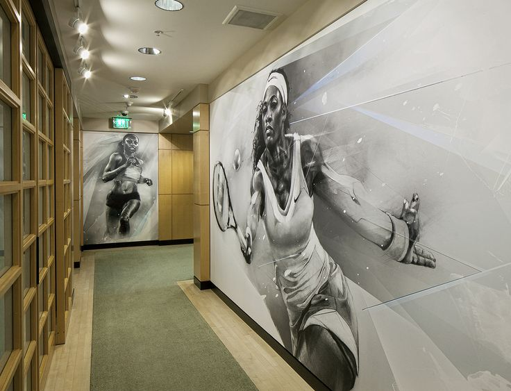 #nike #nikehq #drawing #wallgraphics #executiveoffices #serenawilliams #allysonfelix #nikelab