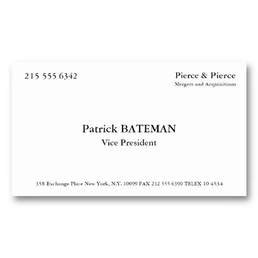 Best Patrick Bateman Business Card Images On Pinterest - American psycho business card template