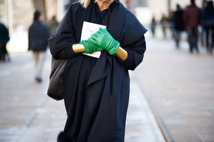 Street Style: To Combat Slush, Accessorize.  NYFW Fall 2013.  Love the green gloves.