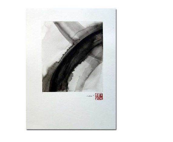 Twelve an original black on white ink wash by Victoria Kloch