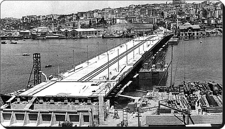 Unkapanı / Atatürk Köprüsü inşaatı - 1936