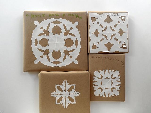 Paper snowflakes + kraft paper