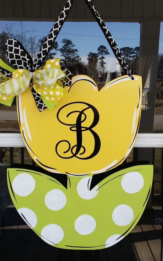Monogrammed Spring tulip door decoration , door hanger, home decor by Thepolkadotteddoor on Etsy: